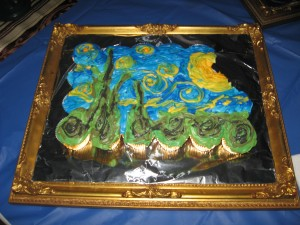 Starry Night cupcake cake, with a few nibbles.